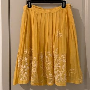 ANTHRO ODILLE YELLOW BEADED & EMBROIDERED SKIRT